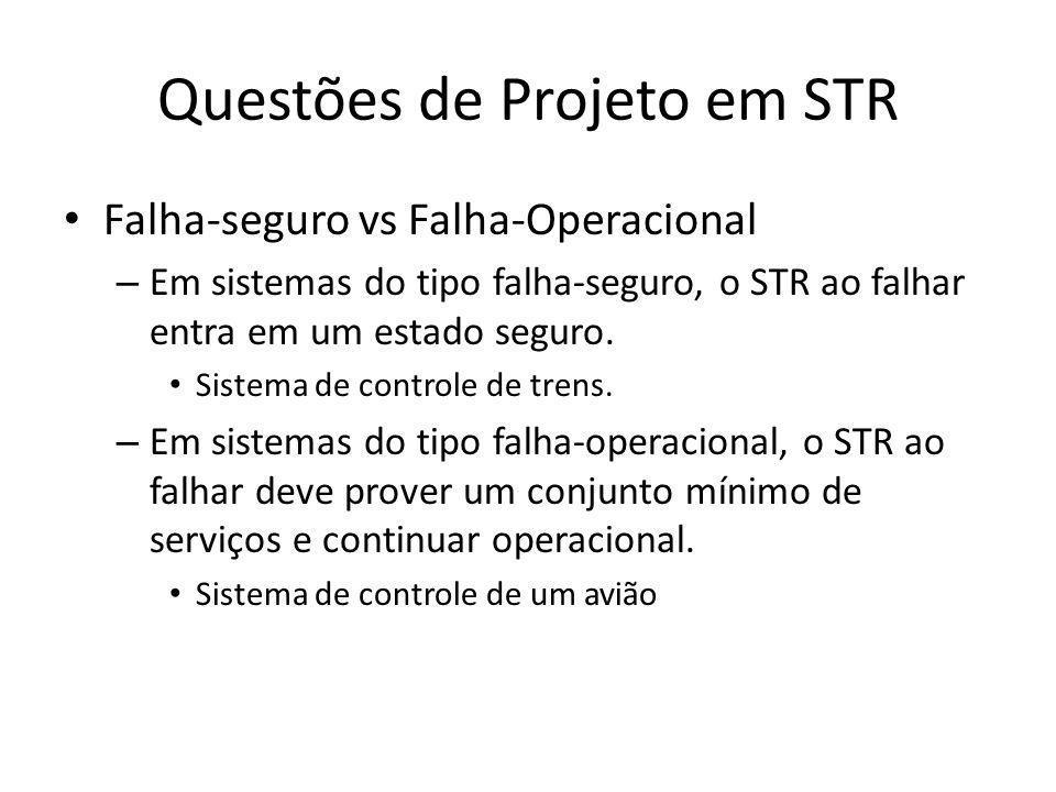 Questões de Projeto em STR Garantia de Resposta vs Melhor Esforço – Em garantia de resposta, o sistema é projetado para sempre cumprir seus deadlines.
