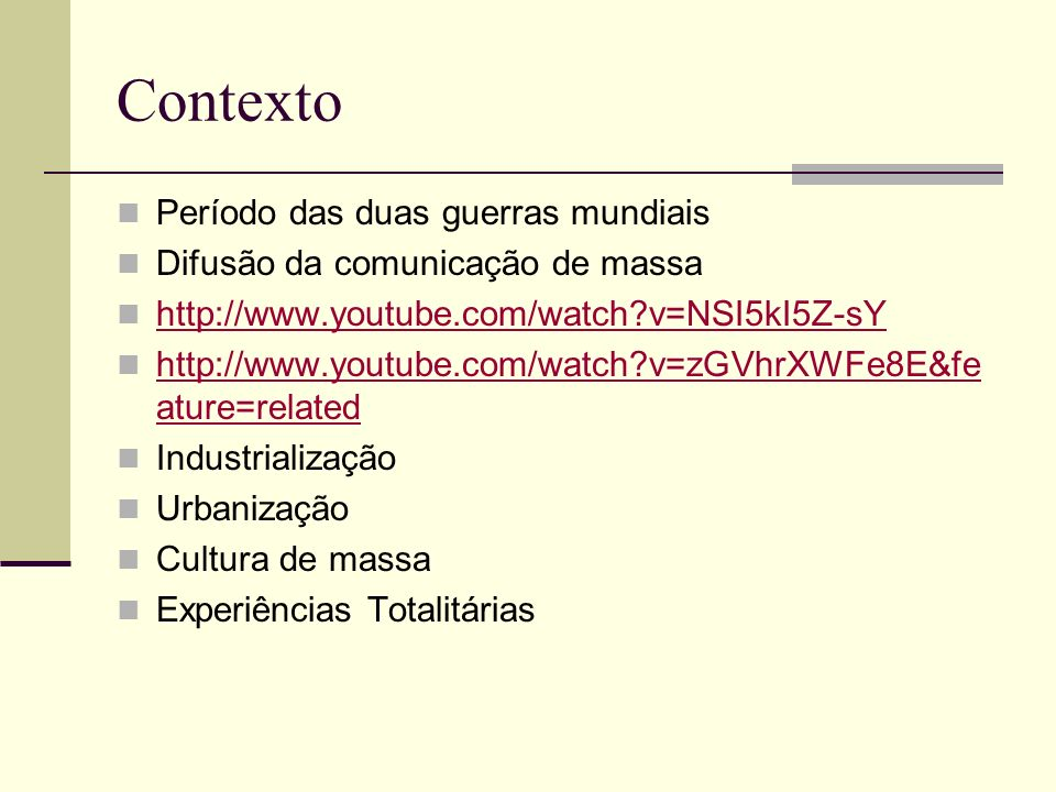 PROPAGANDA Consumo Propaganda de Guerra Americana: http://www.youtube.com/watch?v=- fVKNAwu8Iwhttp://www.youtube.com/watch?v=- fVKNAwu8Iw Propaganda Nazista: http://www.youtube.com/watch?v=VM43UznSX1s&feat ure=related http://www.youtube.com/watch?v=VM43UznSX1s&feat ure=related Propaganda Soviética: http://www.youtube.com/watch?v=XaRfwu_kdoY&featu re=related http://www.youtube.com/watch?v=XaRfwu_kdoY&featu re=related