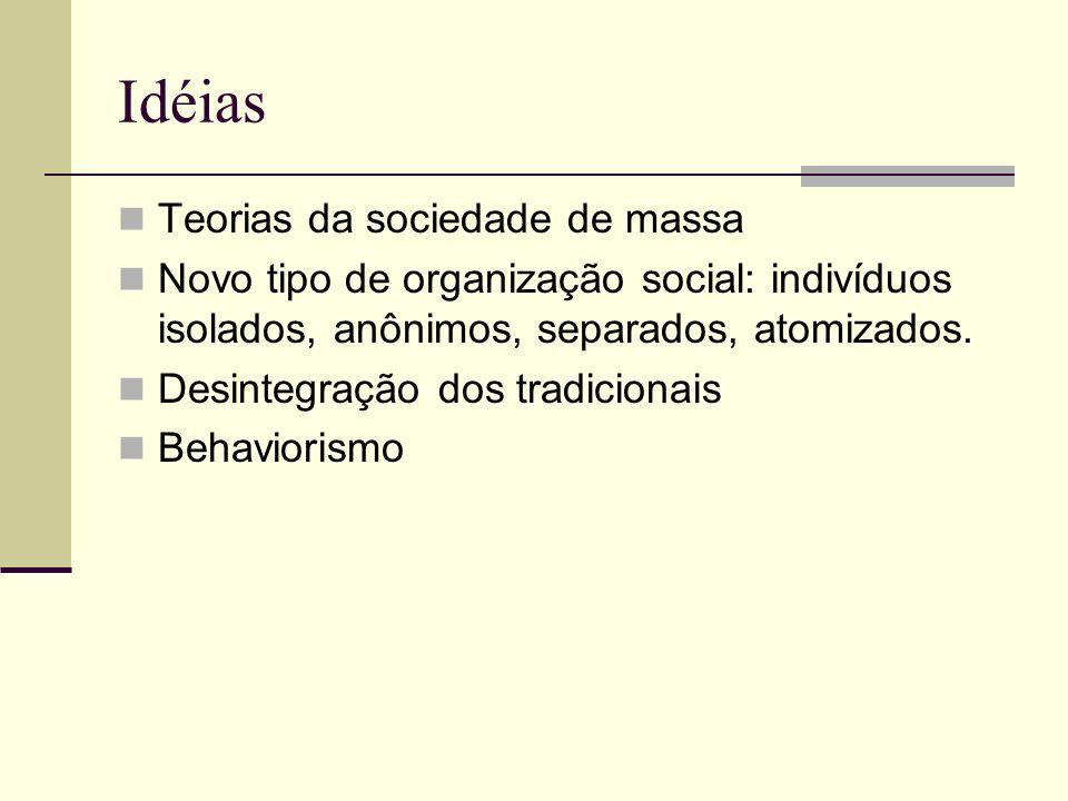 Isolamento - Manipulação Os meios de comunicação de massa constituíam uma espécie de sistema nervoso simples, que se estende para tocar cada olho e cada ouvido, numa sociedade caracterizada pela escassez de relações interpessoais e por uma organização social amorfa (KATZ – LAZARSFELD, 1955)