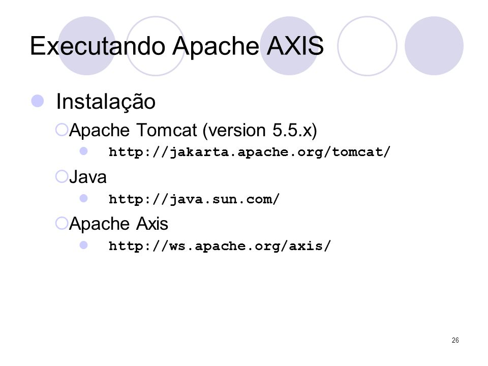 Teste – Happy Axis http://localhost:8080/axis 27