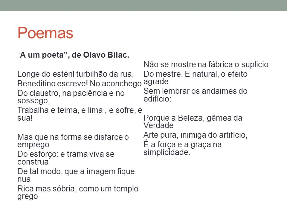 Poemas Inania verba, de Olavo Bilac Ah.