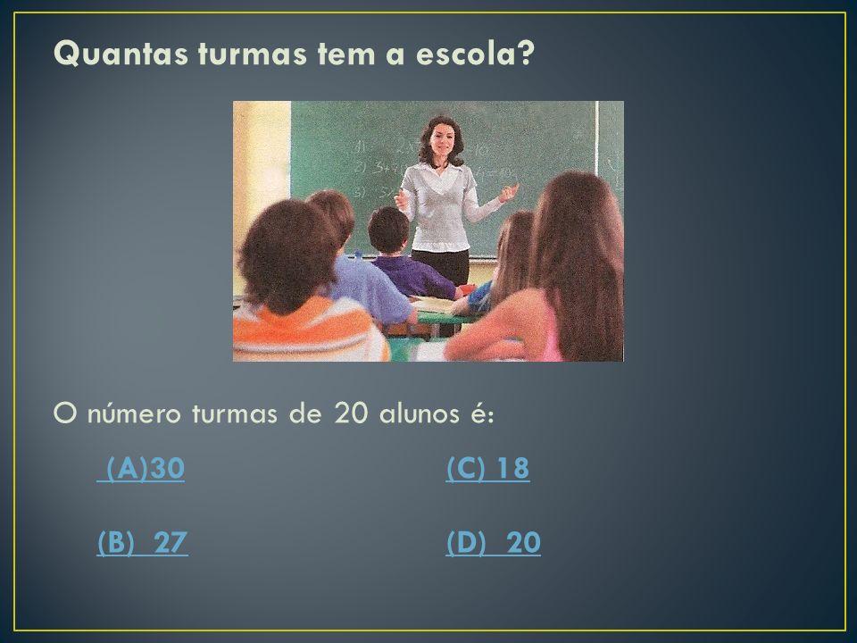 Quantas turmas tem a escola? O número turmas de 20 alunos é: (A)30(C) 18 (B) 27(D) 20
