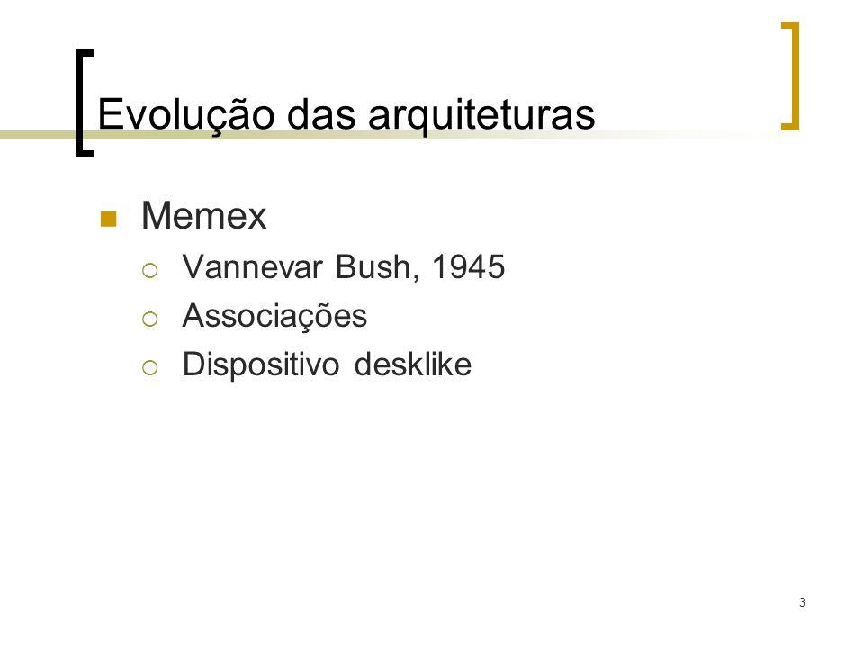 4 Evolução das arquiteturas Xanadu TED Nelsom, 1965 Toda literatura do mundo armazenada e interlidada Ainda é inviavel!!!