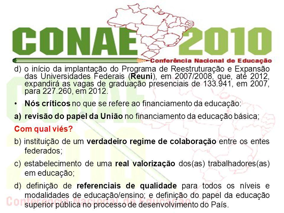 e) definição do papel da educação superior pública no processo de desenvolvimento do País.