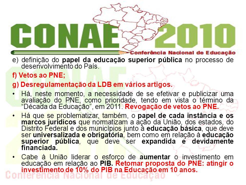 Todas essas questões identificam-se com a efetivação do Sistema Nacional de Educação (SNE) e o redirecionamento dos processos de organização e gestão, para lograr a qualidade social em todos os níveis e modalidades da educação brasileira.