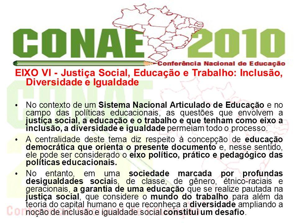 No contexto de um Sistema Nacional Articulado de Educação e no campo das políticas educacionais, as questões que envolvem a justiça social, a educação e o trabalho e que tenham como eixo a inclusão, a diversidade e igualdade permeiam todo o processo.