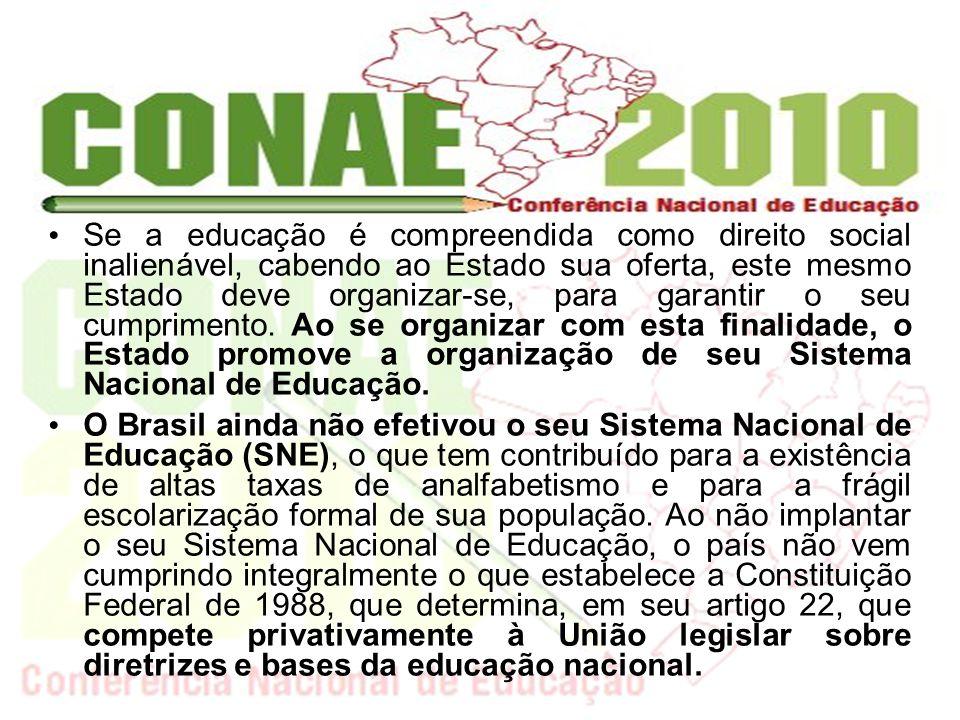 Ainda que exista no Brasil a LDB, o órgão legislativo (Congresso Nacional), normativo (CNE) e um executivo (MEC), não se construiu uma forma de organização que viabilize o alcance dos fins da educação nacional e o estatuto constitucional do regime de colaboração entre os sistemas de ensino.