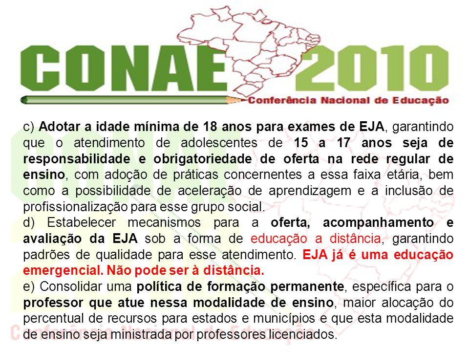 f) Inserir, na EJA, ações da educação especial, que possibilitem a ampliação de oportunidades de escolarização, formação para a inserção no mundo do trabalho e efetiva participação social.