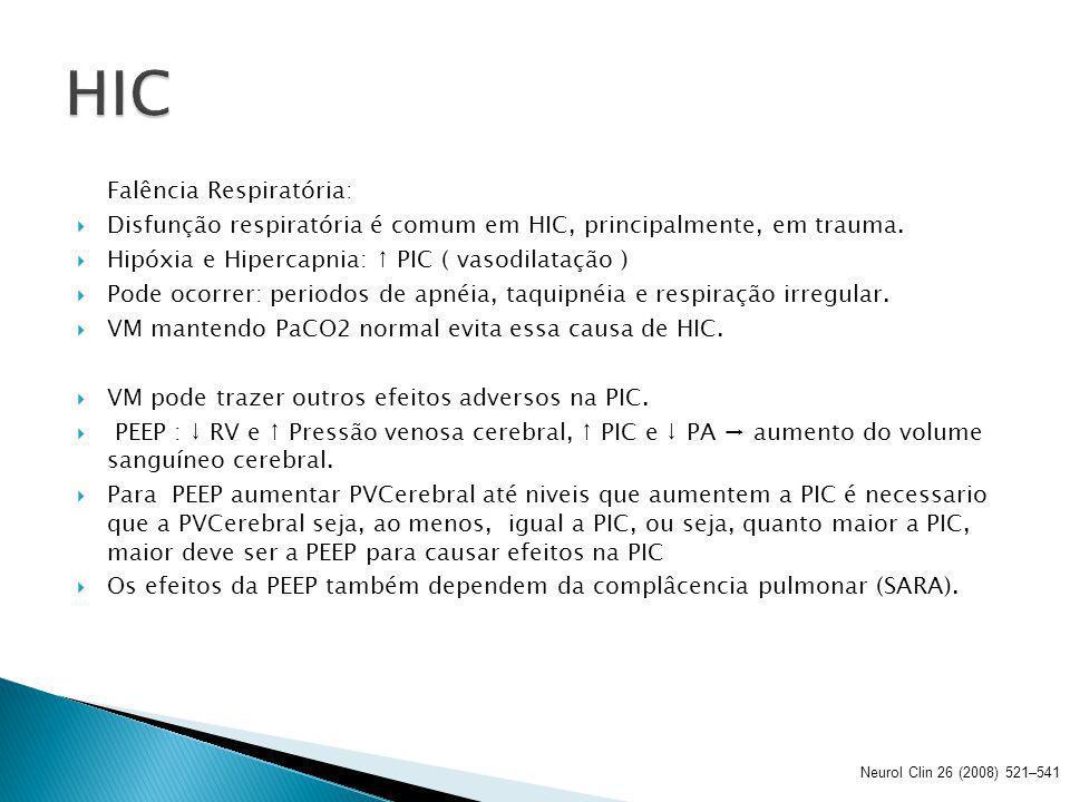 Hiperventilação: Queda da PaCO2 leva a vasoconstrição e a diminuição do FSC e diminuição da PIC.