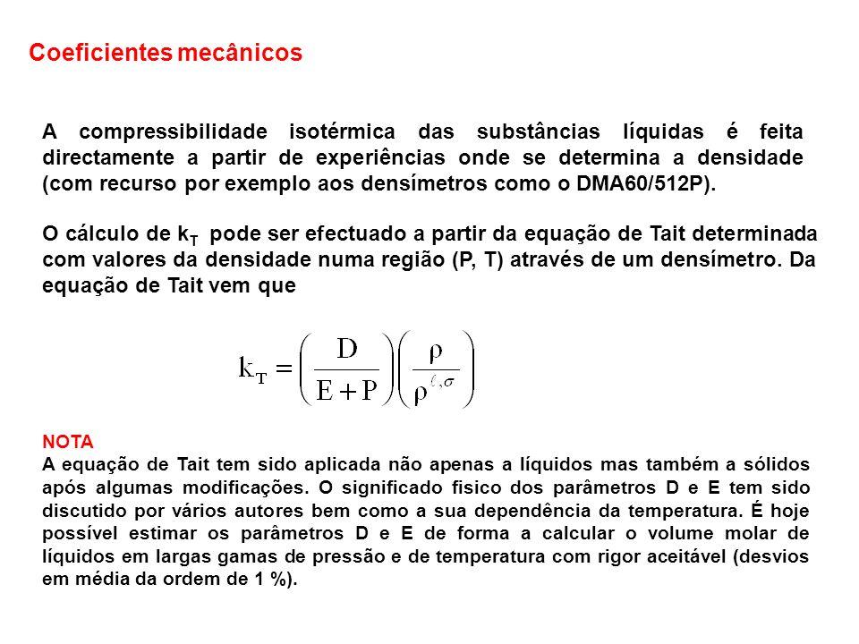 Variação de P e T com T e P Os valores de P e T crescem, em geral, com a temperatura (a P constante).