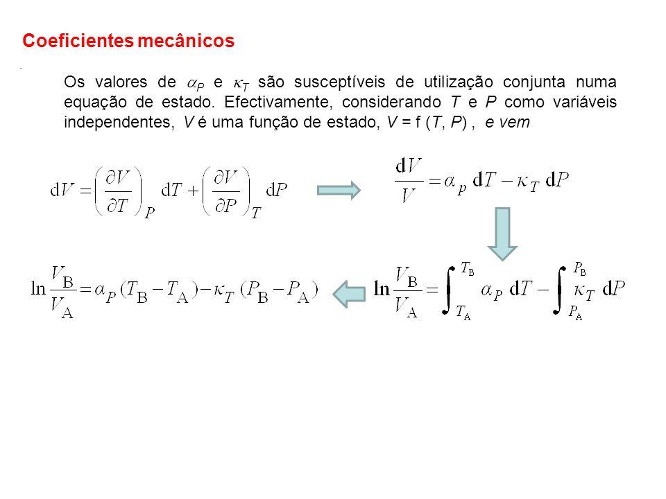Dado que o volume, V, é uma função de estado, o valor do primeiro membro da eq.