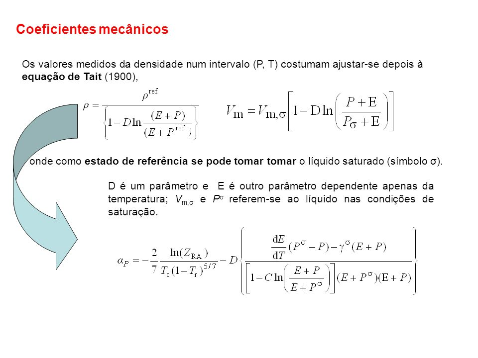 Para os líquidos costuma defenir-se uma coeficiente equivalente a α P mas que corresponde ao líquido em condições de saturação (líquido+gás em equilíbrio) que se designa por expansibilidade de saturação, tal que As definições de P e têm as dimensões do inverso da temperatura (K -1 ) O valor de P que pode em princípio ser qualquer, é geralmente positivo.