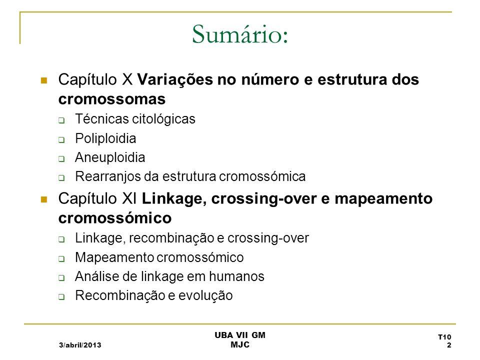 VARIAÇÕES NO NÚMERO E ESTRUTURA DOS CROMOSSOMAS Capítulo X 3/abril/2013 T10 3 UBA VII GM MJC