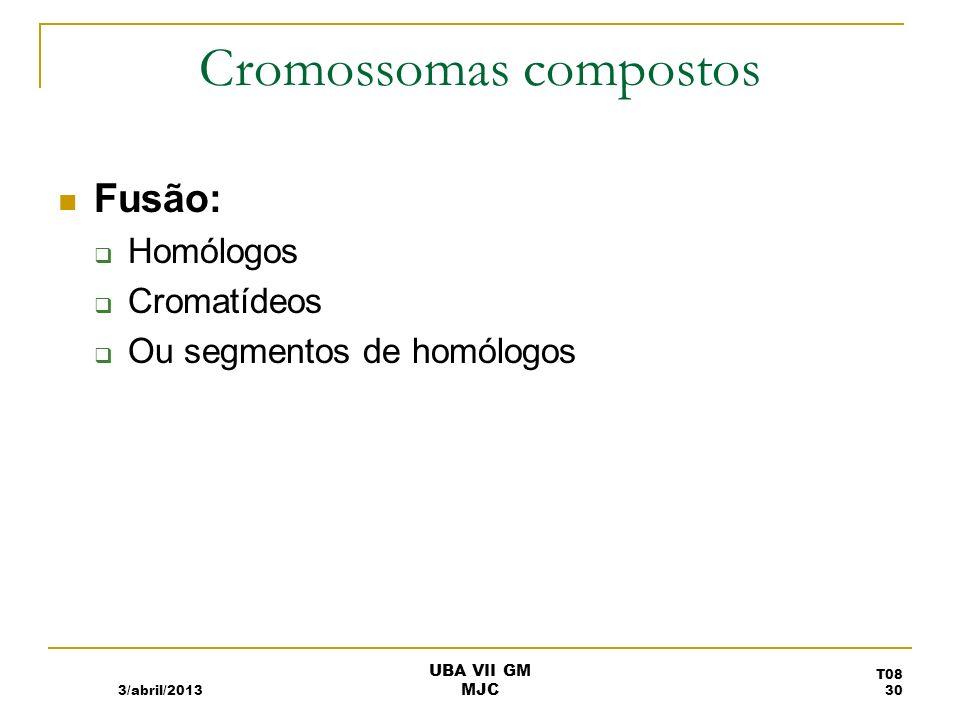 Cromossomas compostos em Drosophila 3/abril/2013 T08 31 UBA VII GM MJC