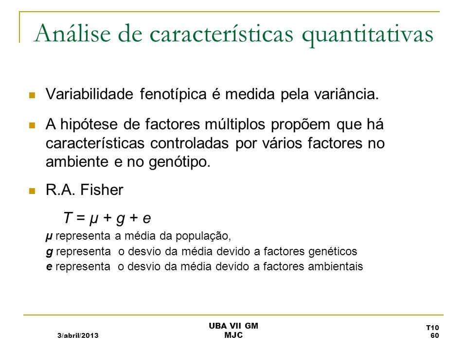 Fénotipos quantitativos e desvios da média 3/abril/2013 UBA VII GM MJC T10 61