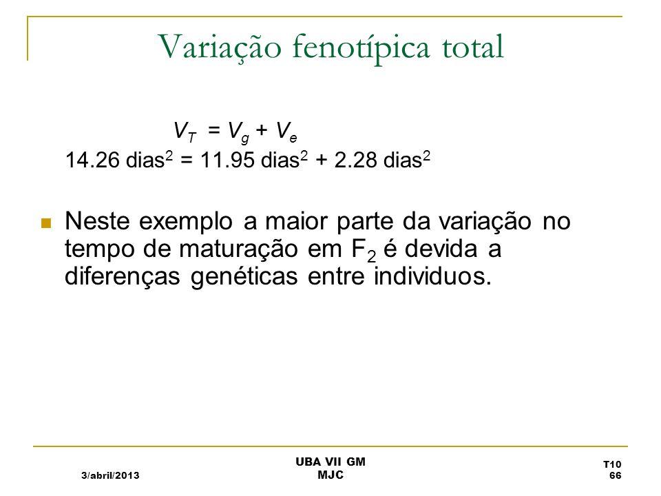 Heritabilidade senso lato H 2 H 2 = V g /V T H 2 = V g /(V g + V e ) Varia entre 0 e 1 H 2 perto de 0, pouca da variabilidade é devida a factores genéticos.