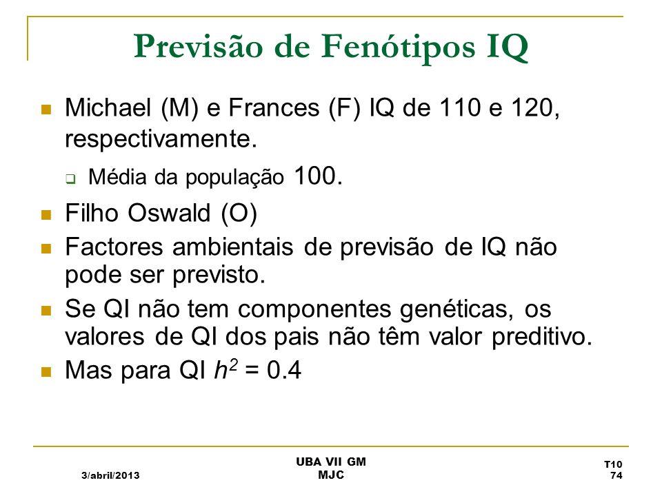 Previsão do QI do Oswald é T O = µ + h 2 [(T M + T F )/2 – µ] SubstituindoT P for [(T M + T F )/2, T O = µ + h 2 [T P – µ] Substituindo pelos valores conhecidos T O = 100 + (0.4)[115 – 100] T O = 106 3/abril/2013 UBA VII GM MJC T10 75