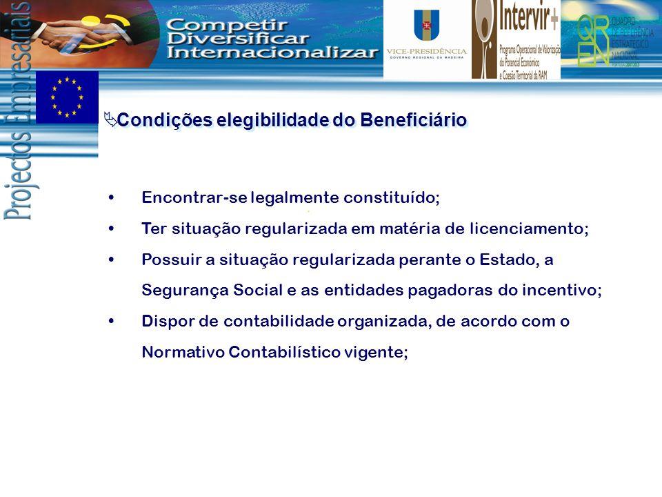 Condições elegibilidade do Beneficiário Comprometer-se a manter a totalidade dos postos de trabalho da empresa pelo período mínimo de dois anos; Apresentar uma situação económico-financeira equilibrada, verificada pela apresentação de C.