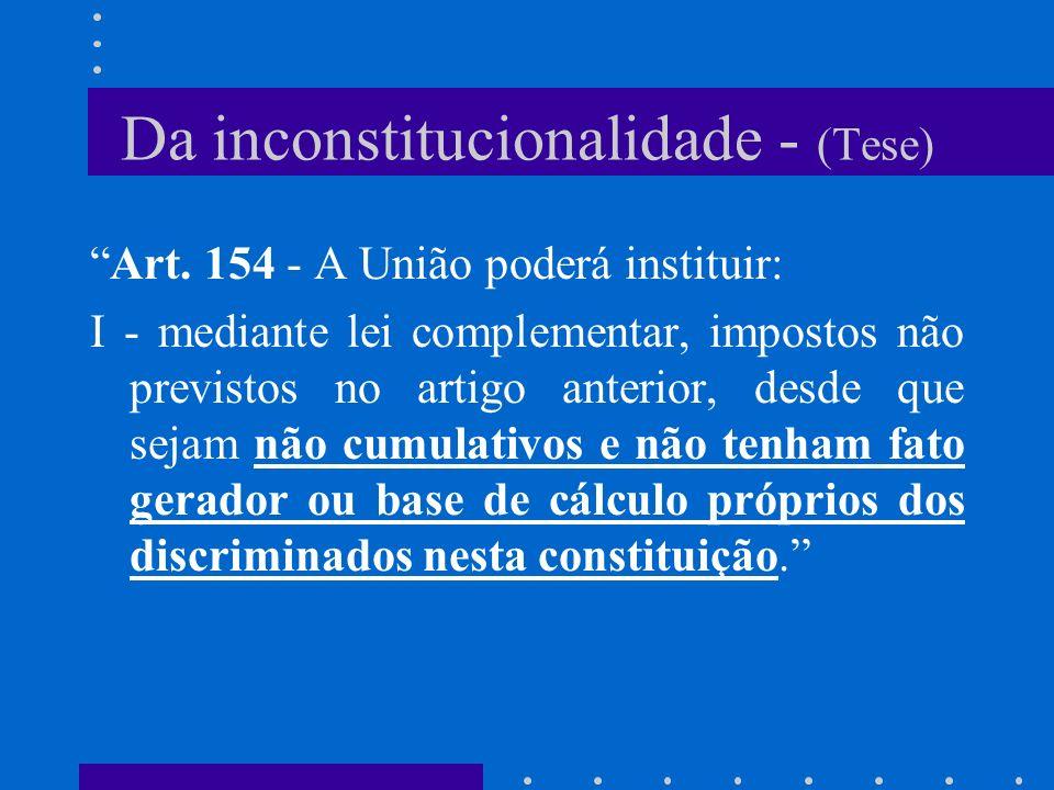 Da inconstitucionalidade C.F.- Art.