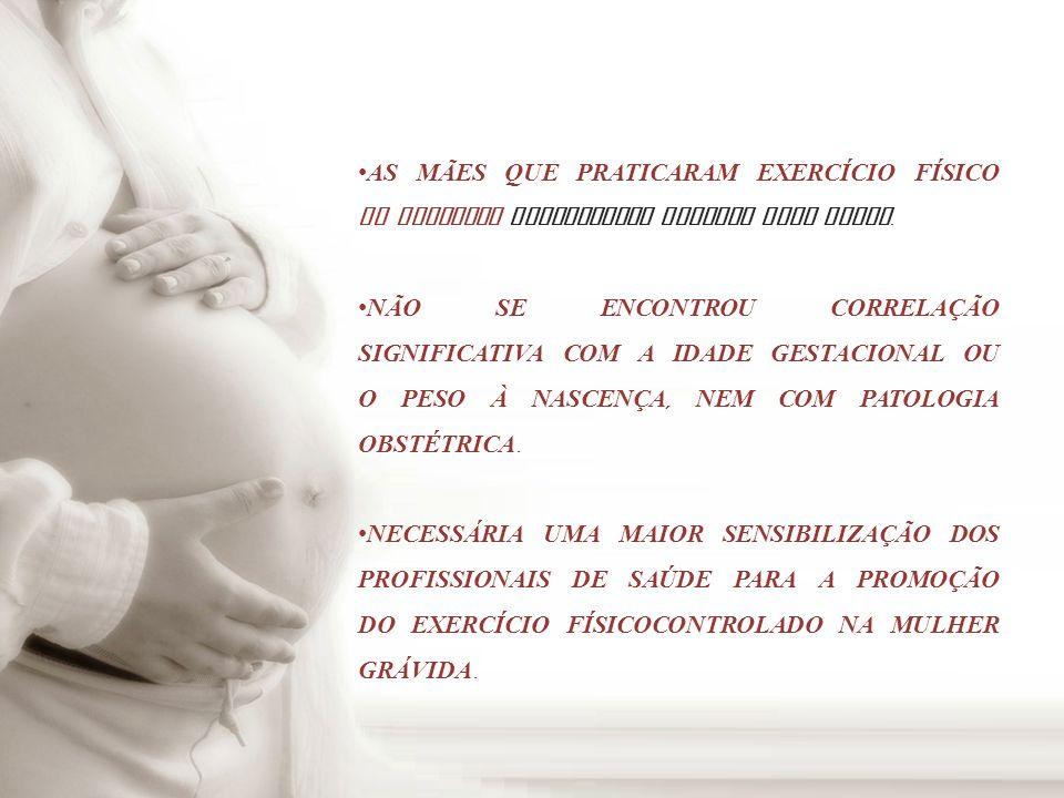 ALGUNS ESTUDOS MOSTRAM QUE UM PROGRAMA DE EXERCÍCIO FÍSICO DE MODERADA INTENSIDADE, INICIADO NUMA FASE PRECOCE DA GRAVIDEZ, DURANTE A FASE HIPERPLÁSICA DO CRESCIMENTO PLACENTAR, PODE AUMENTAR A CAPACIDADE FUNCIONAL DA PLACENTA, AUMENTANDO A DISTRIBUI Ç ÃO DE NUTRIENTES E ASSIM O CRESCIMENTO FETAL.