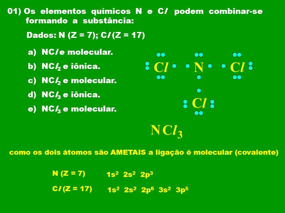 02) (UESPI) O fosfogênio (COCl 2 ), um gás incolor, tóxico, de cheiro penetrante, utilizado na Primeira Guerra Mundial como gás asfixiante, é produzido a partir da reação: CO (g) + Cl 2(g) COCl 2(g) Sobre a molécula do fosfogênio, podemos afirmar que ela apresenta: a) duas ligações duplas e duas ligações simples b) uma ligação dupla e duas ligações simples c) duas ligações duplas e uma ligação simples d) uma ligação tripla e uma ligação dupla e) uma ligação tripla e uma simples CO ClCl ClCl
