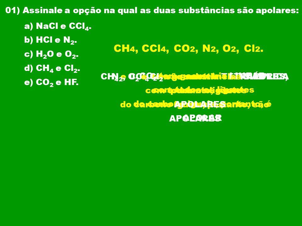 02) (UFES) A molécula que apresenta momento dipolar diferente de zero (molecular polar) é: a) CS 2.