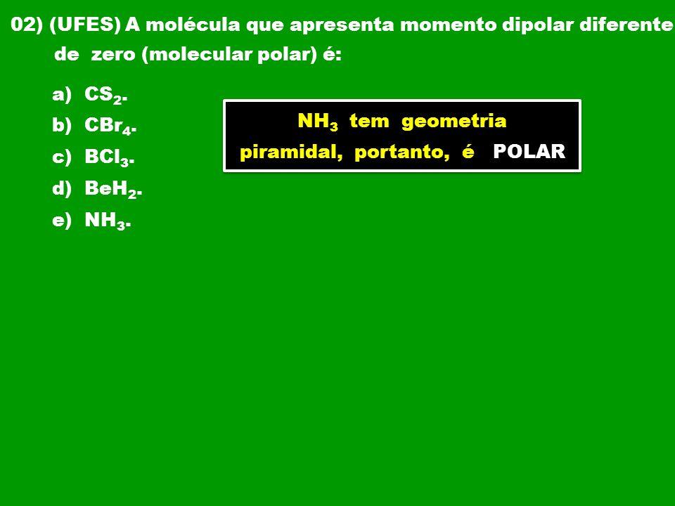 03) (UFRS) O momento dipolar é a medida quantitativa da polaridade de uma ligação.