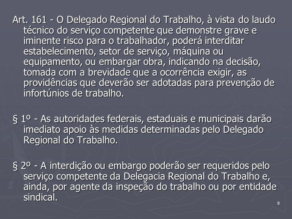 10 § 3º - Da decisão do Delegado Regional do Trabalho poderão os interessados recorrer, no prazo de 10 (dez) dias, para o órgão de âmbito nacional competente em matéria de segurança e medicina do trabalho, ao qual será facultado dar efeito suspensivo ao recurso.