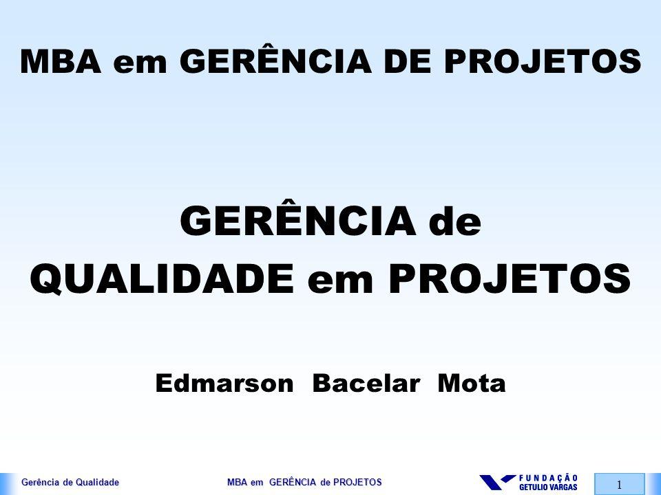 Gerência de Qualidade MBA em GERÊNCIA de PROJETOS 2 PERFIL TRABALHADORES …..