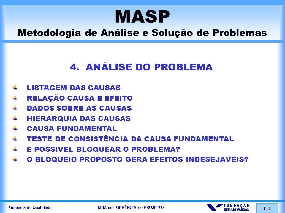 Gerência de Qualidade MBA em GERÊNCIA de PROJETOS 119 MASP Metodologia de Análise e Solução de Problemas 5.