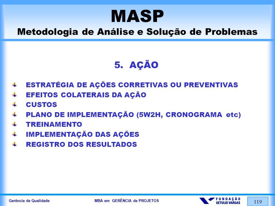 Gerência de Qualidade MBA em GERÊNCIA de PROJETOS 120 MASP Metodologia de Análise e Solução de Problemas 6.