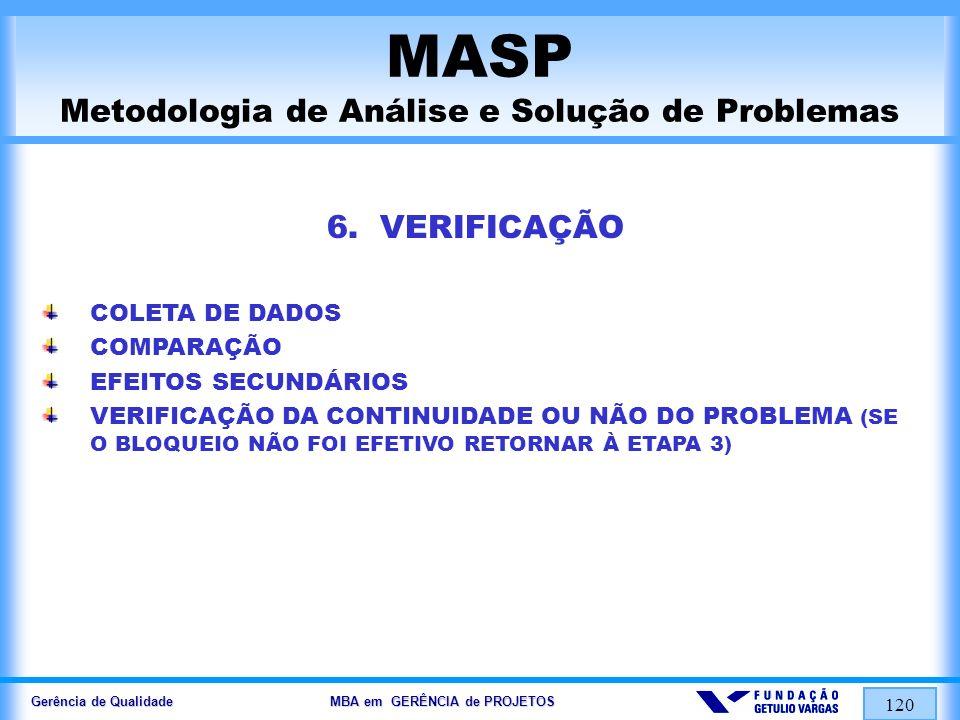 Gerência de Qualidade MBA em GERÊNCIA de PROJETOS 121 MASP Metodologia de Análise e Solução de Problemas 7.