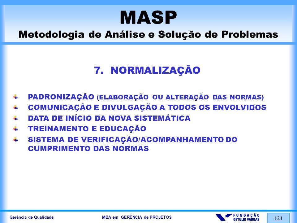 Gerência de Qualidade MBA em GERÊNCIA de PROJETOS 122 MASP Metodologia de Análise e Solução de Problemas 8.