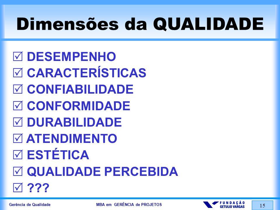 Gerência de Qualidade MBA em GERÊNCIA de PROJETOS 16 Trilogia da QUALIDADE (Trilogia Juran) Planejamento da Qualidade Controle da Qualidade Melhoria da Qualidade As Duas INCUBADORAS da QUALIDADE: Incubadora BENIGNA (via CUSTOS DA QUALIDADE ) Incubadora MALIGNA (via CUSTOS DA NÃO-QUALIDADE )