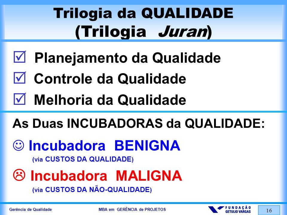 Gerência de Qualidade MBA em GERÊNCIA de PROJETOS 17 Incubadora Maligna (remédios para seu fechamento)