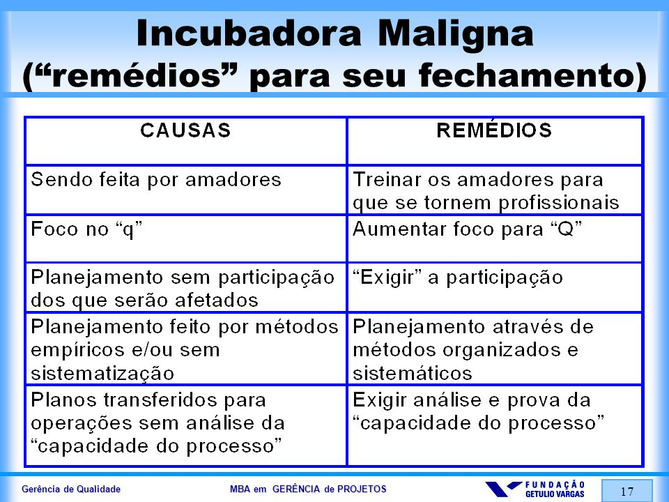 Gerência de Qualidade MBA em GERÊNCIA de PROJETOS 18 ALGUMAS CATEGORIAS de CUSTOS DA QUALIDADE PREVENÇÃO AVALIAÇÃO / ACOMPANHAMENTO /REVISÃO FALHAS INTERNAS (Prevenção …) FALHAS EXTERNAS (Prevenção …) EQUIPAMENTOS DE MENSURAÇÃO E TESTE TREINAMENTO PESQUISAS AUDITORIAS