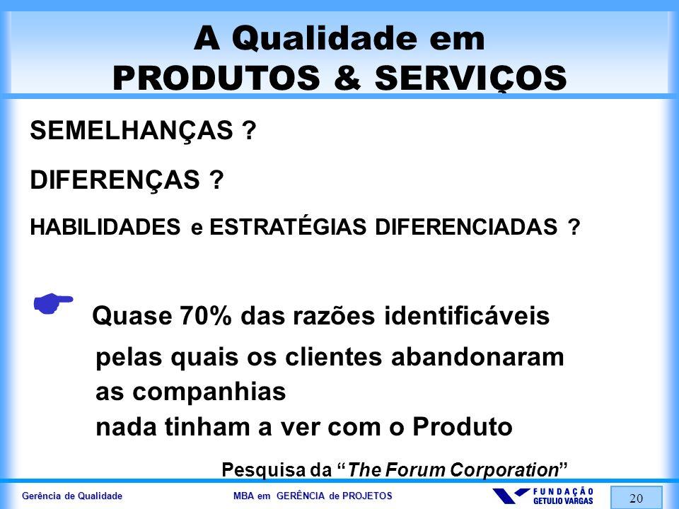 Gerência de Qualidade MBA em GERÊNCIA de PROJETOS 21 SERVIÇOS...