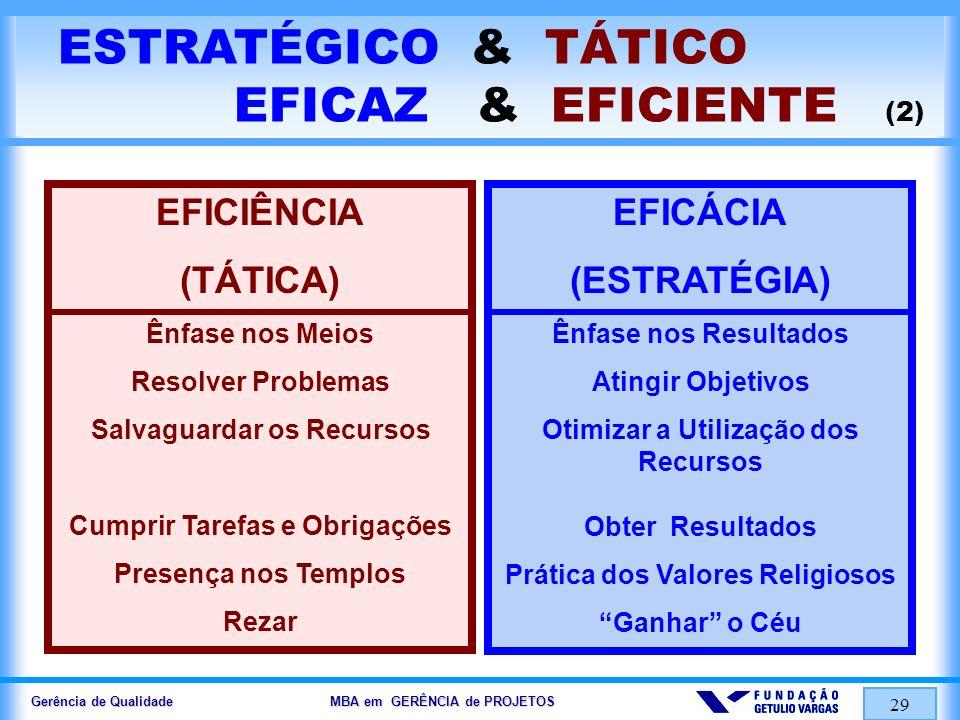 Gerência de Qualidade MBA em GERÊNCIA de PROJETOS 30 FATORES CHAVE de SUCESSO (FCS) PESO (%) 100 % FATORES CHAVES de SUCESSO