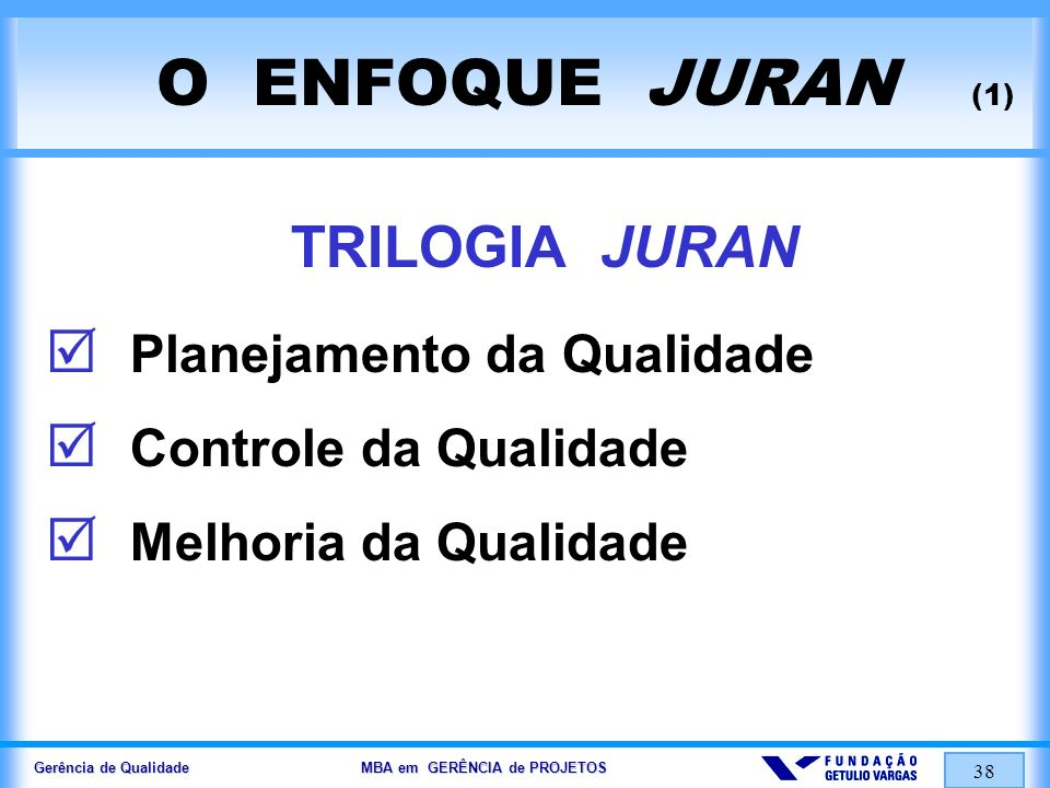 Gerência de Qualidade MBA em GERÊNCIA de PROJETOS 39 O ENFOQUE JURAN (2) PLANEJAMENTO da QUALIDADE 1.