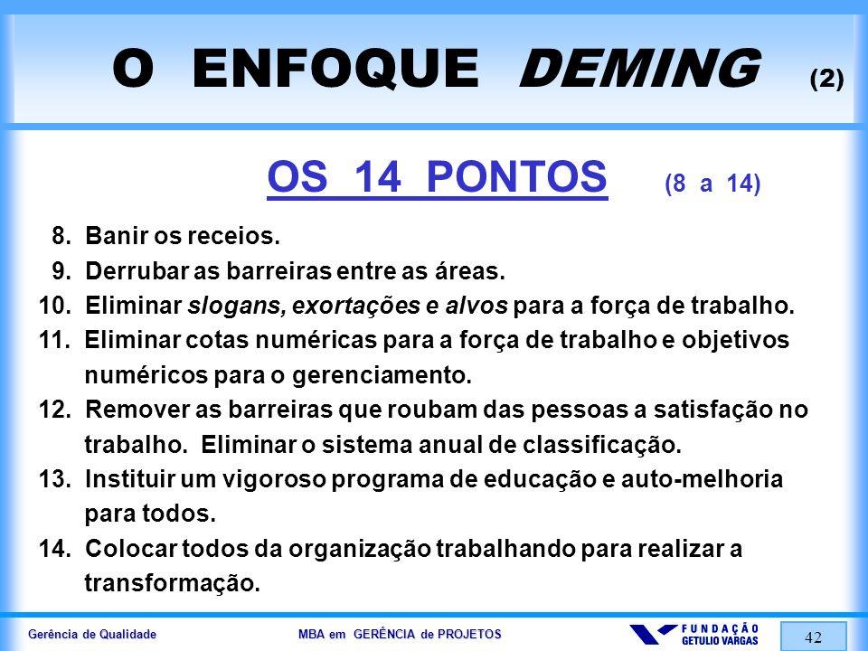 Gerência de Qualidade MBA em GERÊNCIA de PROJETOS 43 O ENFOQUE CROSBY (1) PARA CROSBY, QUALIDADE É.....
