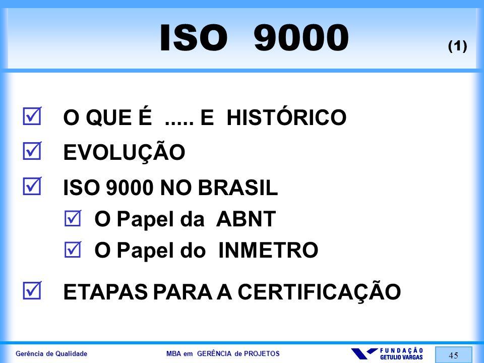 Gerência de Qualidade MBA em GERÊNCIA de PROJETOS 46 SÉRIE de NORMAS ISO 9000 ISO 9000.....