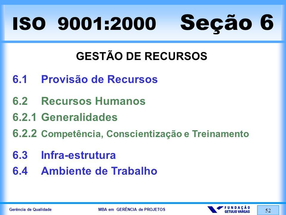 Gerência de Qualidade MBA em GERÊNCIA de PROJETOS 53 ISO 9001:2000 Seção 7 REALIZAÇÃO DO PRODUTO 7.1Planejamento da Realização do Produto 7.2Processos Relacionados a Clientes 7.2.1Determinação dos Requisitos Relacionados ao Produto 7.2.2Análise Crítica dos Requisitos Relacionados ao Produto 7.2.3Comunicação com o Cliente