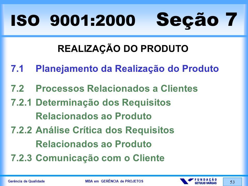 Gerência de Qualidade MBA em GERÊNCIA de PROJETOS 54 ISO 9001:2000 Seção 7 REALIZAÇÃO DO PRODUTO 7.3Projeto e Desenvolvimento 7.3.1 Planejamento do Projeto e Desenvolvimento 7.3.2Entradas de Projeto e Desenvolvimento 7.3.3Saídas de Projeto e Desenvolvimento 7.3.4 Análise Crítica de Projeto e Desenvolvimento 7.3.5Verificação de Projeto e Desenvolvimento 7.3.6Validação de Projeto e Desenvolvimento 7.3.7Controle de Alteração de Projeto e Desenv.