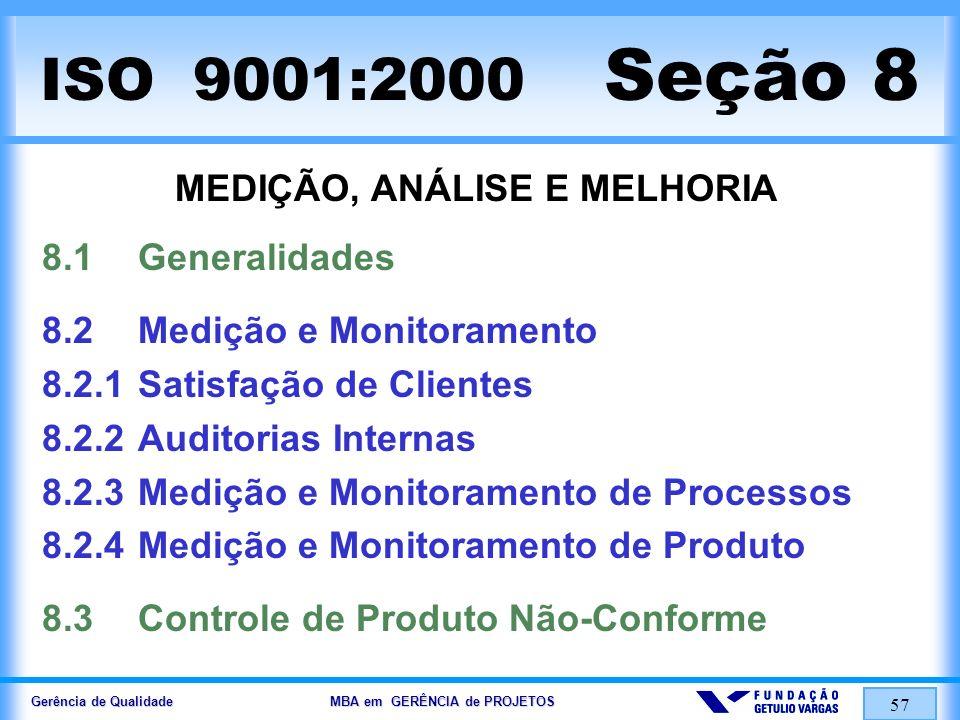 Gerência de Qualidade MBA em GERÊNCIA de PROJETOS 58 ISO 9001:2000 Seção 8 MEDIÇÃO, ANÁLISE E MELHORIA 8.4Análise de Dados 8.5Melhorias 8.5.1Melhorias Contínuas 8.5.2Ações Corretivas 8.5.3Ações Preventivas