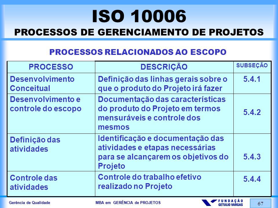 Gerência de Qualidade MBA em GERÊNCIA de PROJETOS 68 ISO 10006 PROCESSOS DE GERENCIAMENTO DE PROJETOS PROCESSOS RELACIONADOS AO TEMPO 5.5.1 5.5.2 5.5.3 5.5.4 Identificação das inter-relações, interações lógicas e dependências entre as atividades do Projeto Estimativa da duração de cada atividade em conexão com atividades específicas e com os recursos necessários Inter-relação dos objetivos de prazo do Projeto, dependências das atividades e suas durações como estrutura para o desenvolvimento de cronogramas gerais e detalhados Controle da realização das atividades do Projeto, para confirmação do cronograma proposto ou para realizar as ações apropriadas para recuperar atrasos Planejamento das dependência das atividades Estimativa de duração Desenvolvimento do cronograma Controle do cronograma SUBSEÇÃO DESCRIÇÃOPROCESSO