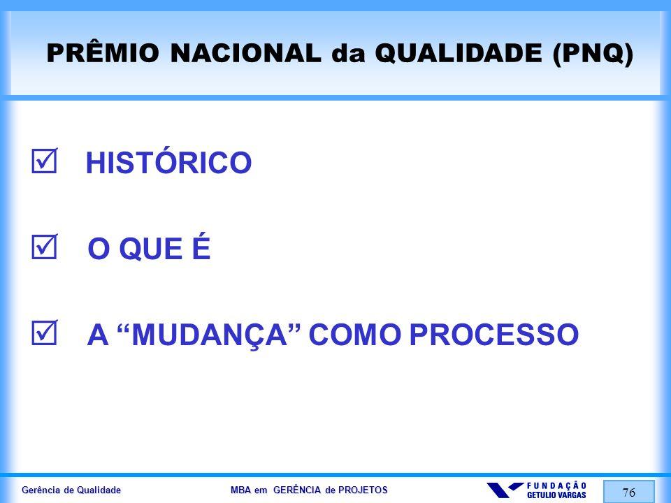 Gerência de Qualidade MBA em GERÊNCIA de PROJETOS 77 LIDERANÇA E CONSTÂNCIA DE PROPÓSITOS VISÃO DE FUTURO FOCO NO CLIENTE E NO MERCADO RESPONSABILIDADE SOCIAL E ÉTICA DECISÕES BASEADAS EM FATOS VALORIZAÇÃO DAS PESSOAS ABORDAGEM POR PROCESSOS FOCO NOS RESULTADOS INOVAÇÃO AGILIDADE APRENDIZADO ORGANIZACIONAL VISÃO SISTÊMICA FUNDAMENTOS PARA O PNQ 2004