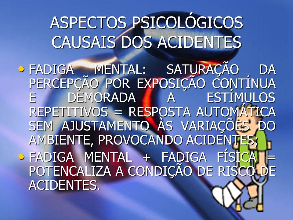 ASPECTOS PSICOLÓGICOS CAUSAIS DOS ACIDENTES QUE MOTIVOS LEVARIAM UMA PESSOA A AGIR DE FORMA INSEGURA.