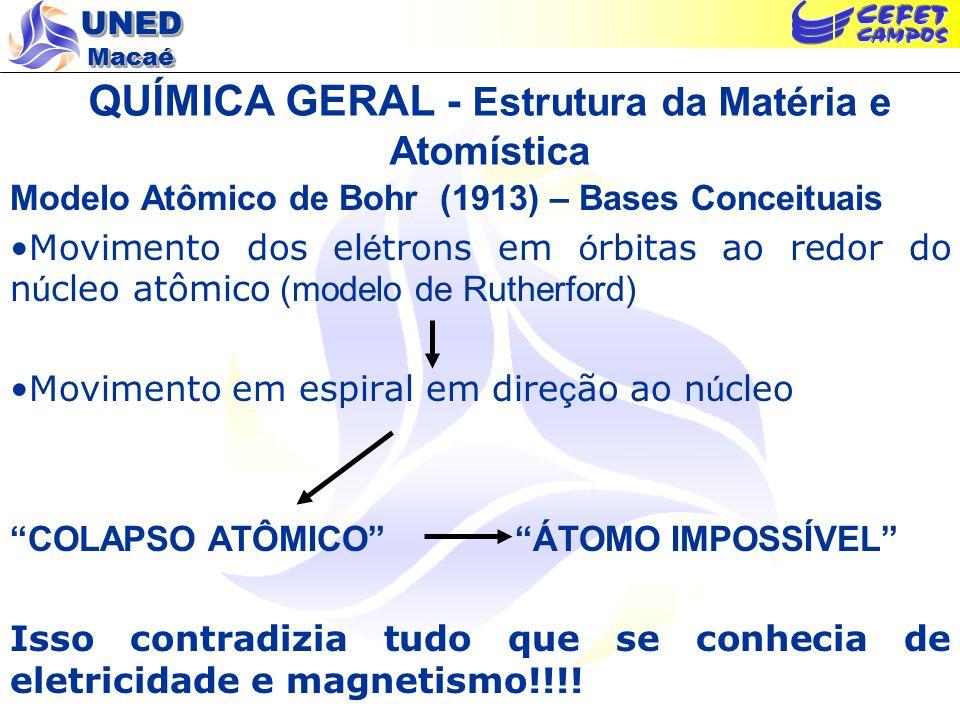 UNED Macaé QUÍMICA GERAL - Estrutura da Matéria e Atomística Modelo Atômico de Bohr (1913) – Premissas Primeira Lei : os el é trons podem girar em ó rbita somente a determinadas distâncias permitidas do n ú cleo.