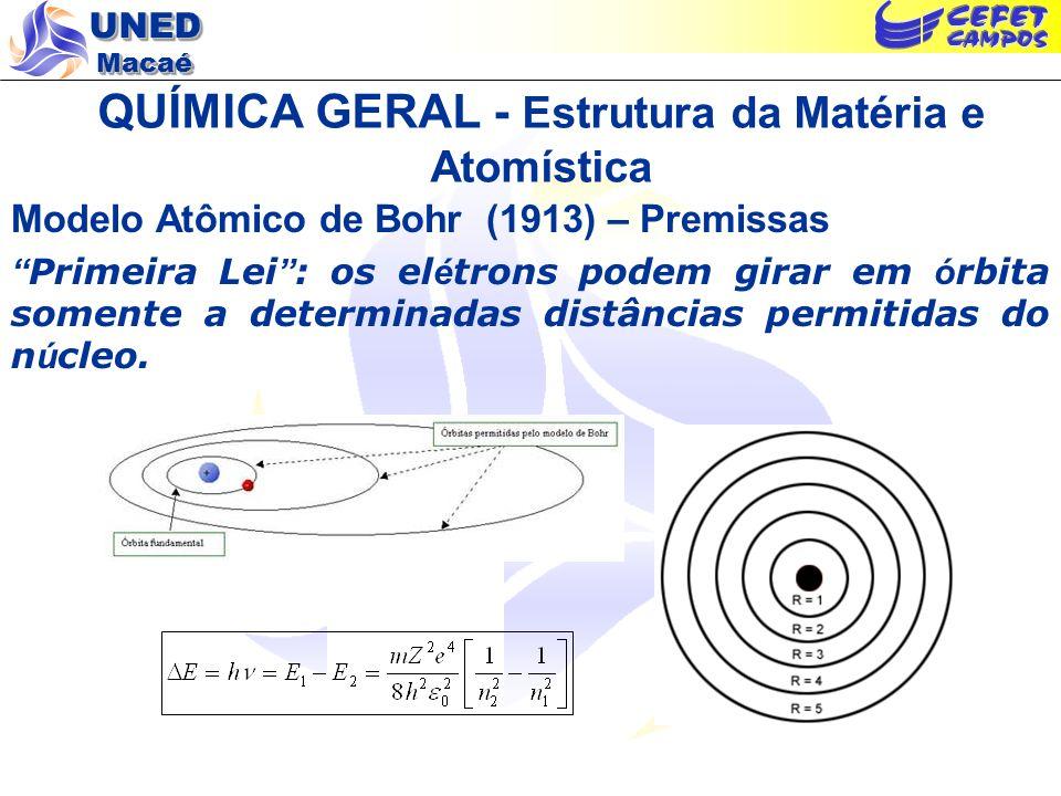 UNED Macaé QUÍMICA GERAL - Estrutura da Matéria e Atomística Modelo Atômico de Bohr (1913) – Premissas Segunda Lei : um á tomo irradia energia quando um el é tron salta de uma ó rbita de maior energia para uma de menor energia.