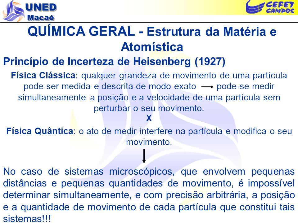 UNED Macaé QUÍMICA GERAL - Estrutura da Matéria e Atomística Caráter Dual dos Elétrons Dualidade Luz Fenômenos comunsNa difração Emissão/absorção como partícula (h ) Probabilidade de encontrar fótons Transmissão como onda Resultante das interferências O elétron também sofre difração Em movimento = comportamento ondulatório Em absorção/emissão = partícula Conhecimento estatístico